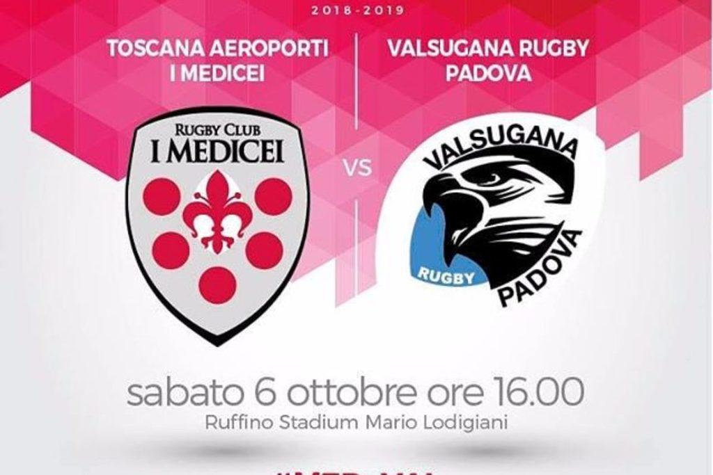 RUGBY-TOP 12, 4a Giornata, Toscana Aeroporti I Medicei- Valsugana Rugby Padova 16-3